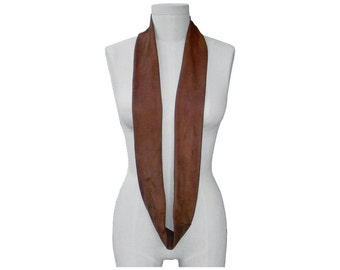 Leather Scarf Suede Leather Infinity Scarf Suede scarf , Brown nutmeg , Tube Loop Scarf Men Women  , made to order