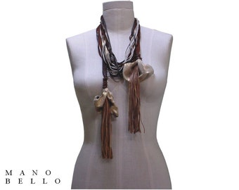 Statement Necklace, Leather Flower, Unusual Necklace, Calla Lily Leather Fringe & Lace Strands Brown, Oyster White, Metallic Gold 1 in