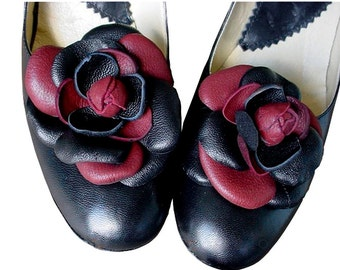SALE Leather Flower Shoe Clips  Weddings Shoes Black &  Burgundy petals, 2 tone, 1 in stock
