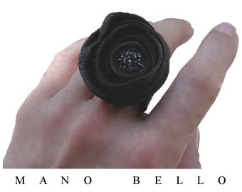 Vampire Diaries Black Leather Flower Beaded Ring, Glass beads on Leather Flower Band Ring, sz 7 - 7.5, in stock