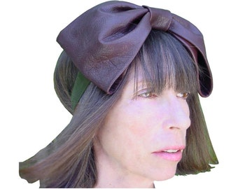 Big Brown Leather Bow Belt ,Brown Leather Bow Headband, Olive Suede Sash, Chocolate Brown Bow  S, M, L in stock