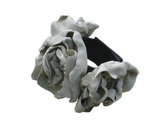 Leather Flower Bridal Cuff Trilogy Corsage, Leather Bracelet Flower Cuff Oyster White & Black in stock