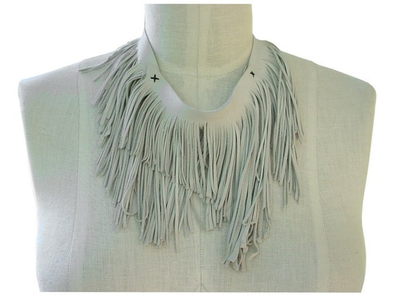 White Leather Fringe Bib Leather  Necklace Cutting Edge Fashion Fringe Scarf Off White Ready
