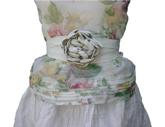 Leather  Flower Belt Solo Leather Flower Ivory White Leather Belt for Dress Leather Flower Ribbon Belt Wrap & Tie in stock