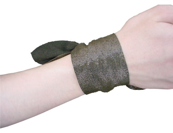 SPARKLY LEATHER TIE on cuff minimalist leather bracelet cuff metallic deep military green boho wrap bracelet