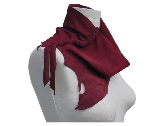 Suede Cowl Leather Scarf Avant Garde Style with Lacing Burgundy Wine Unisex Mens Womens in stock