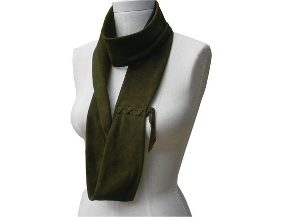 Suede Leather Tube Scarf , Dark Olive Green Leather Infinity Cowl Men Women in stock