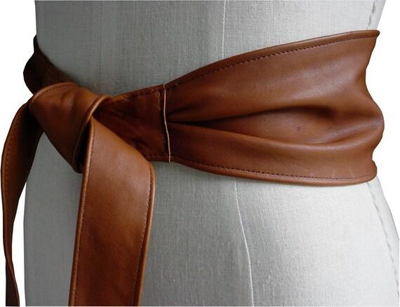 Cognac Leather Womans Obi Belt Wide Cinch, Folds, Brandy, Whiskey, Chestnut Med 28 29 30 31 32 Waist