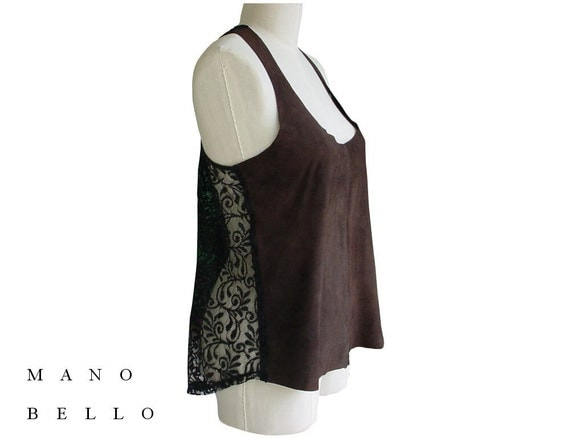 Leather Top with Lace Brown Suede Sexy Tank Top With Black Lace Back Women Small Medium in stock