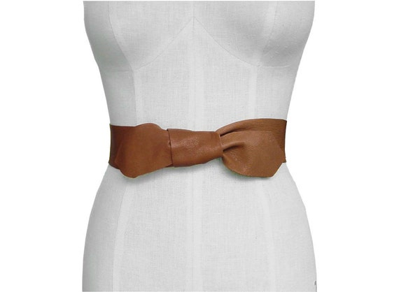 Minimalist  Leather Belt  Basic Knotted Soft Acorn Goatskin Wrap & Tie Small Medium 24-30""
