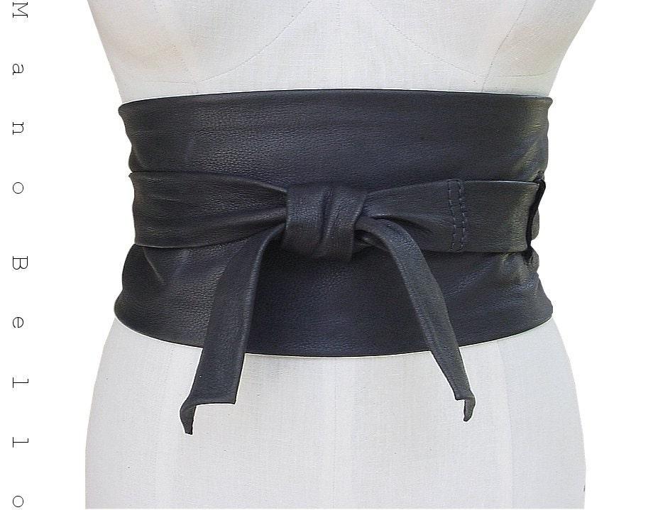 leather obi wide cinch wrap belt black sle