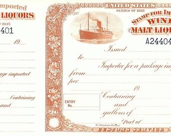 Vintage Original US Customs WINE & Malt Liquor Stamp for Import Cellar Brewer Distillery History Bar