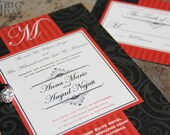 Paisley and Scroll wedding Invitation Set. Elegant scroll wedding invitations
