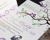 Whimsical lovebirds wedding invitations. Sparrow and branches wedding invitations. Fun lovebird wedding invitations