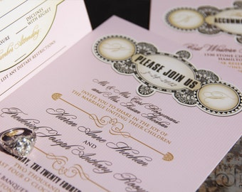 Hollywood Glam Wedding Invitation. Elegant 1920s wedding invitations. Pink wedding invitations