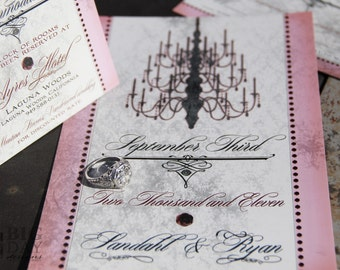 Antique Gala chandelier wedding invitation. Antique chandelier wedding invitations. Pink chandelier wedding invitations