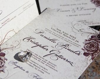 Vintage Rose Wedding Invitations. Swirling rose and parchment wedding invitations. Elegant Garden wedding