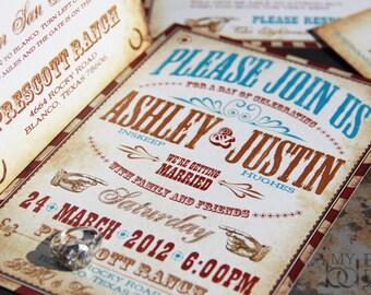 Vintage Western Wedding Invitation Set. Vaudeville wedding invitations. Western carnival wedding invitations