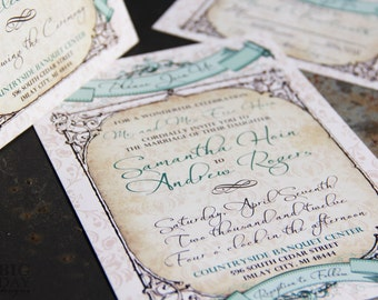 Vintage Baroque Banners Wedding Invitation Suite. Vintage banners wedding invitations. Antique parchment wedding invitations.
