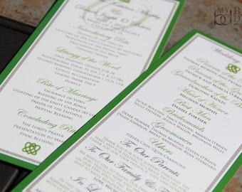 Irish, Celtic Inspired Wedding Program. Irish wedding program. Celtic Knot wedding program. Green and white program