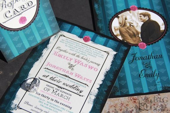 Steampunk wedding invitations. Turquise wedding invitations. Photo wedding invitation.