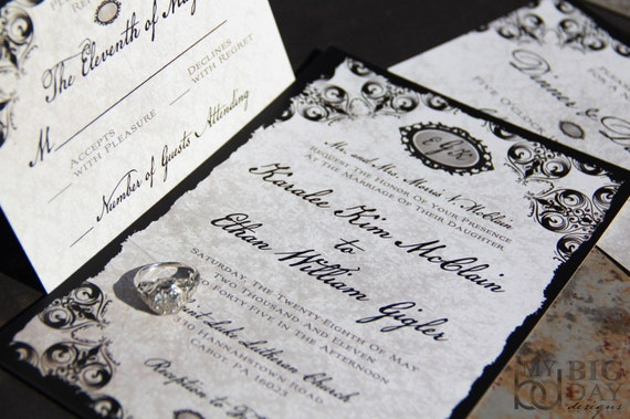 Elegant Damask Wedding Invitation Suite. Black damask wedding invitations. Monogram wedding invitations.