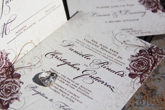 Vintage Rose Wedding Invitations. Swirling rose and parchment wedding invitations. Elegant Garden wedding