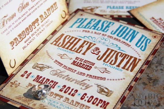 Wedding Invitations Country Theme: Vintage Western Wedding Invitation Set. Vaudeville Wedding
