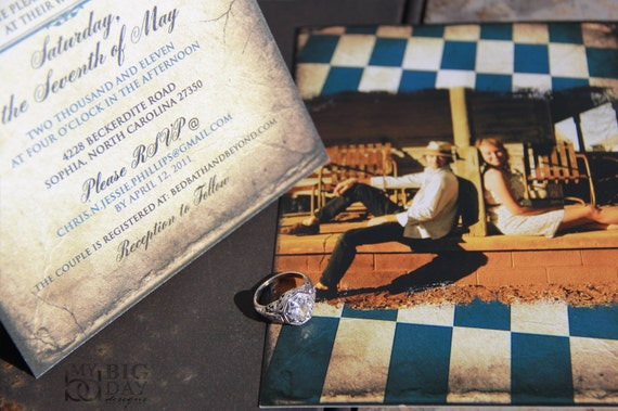 Checkered save the date. Steampunk save the date. Whimsical checkers save the date