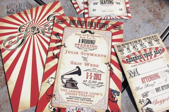 Vintage Carnival Themed Wedding Invitation. Circus themed wedding invitation. Steampunk circus. Steampunk carnival wedding invitations
