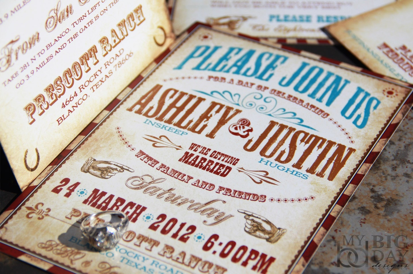 Western Wedding Invitation Wording: Vintage Western Wedding Invitation Set. Vaudeville Wedding