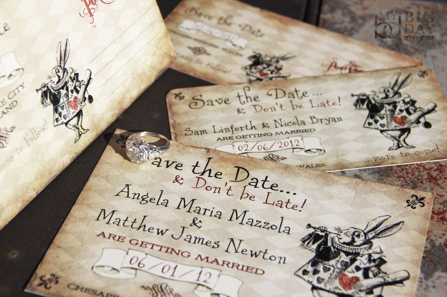 Alice In Wonderland Themed Save The Date Alice In Wonderland