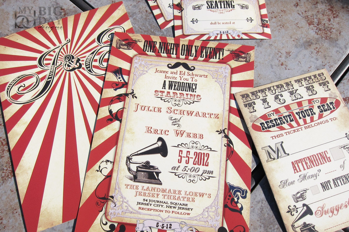 Vintage Carnival Themed Wedding Invitation Circus