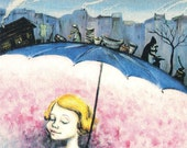 a small Print reproduced from original illustration for a poem by Kadya Molodowsky Title: Girl with Umbrella