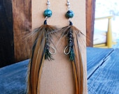 Fly fishing earrings- Brown striped feathers and Turquoise beads