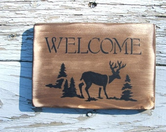 Welcome sign with Deer