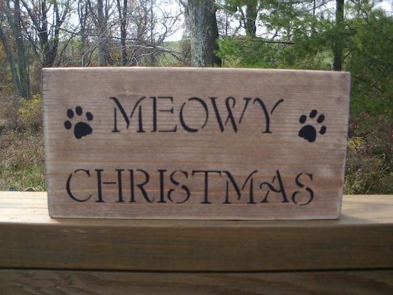 Meowy Christmas sign