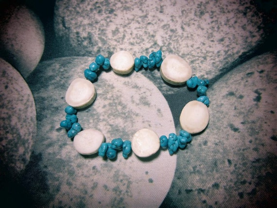 Deer Antler Slice and Turquoise Bracelet