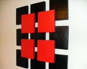 Contemporary Wood Sculpture Wall Art - Red and Black