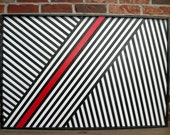 Contemporary Painting on Wood - Wood Sculpture Wall Art  - Red, Black and White