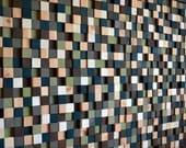 Modern Wood Sculpture Wall Art - Squares  - 36 x 48