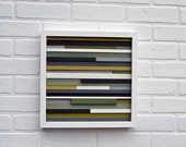 Wood Scultpure Wall Art - Upcycled Wood - 12x12 - Greens, grays and browns
