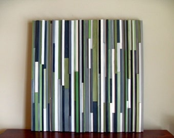 Modern Wood Sculpture Wall Art - Lines - 36 x 36 - Grays and Greens