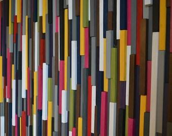 Modern Wood Sculpture Wall Art - Skinny Rectangles -  32 x 70