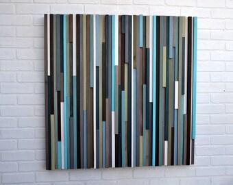Wood Wall Art - Reclaimed Wood Art - Lines - 36 x 36 - Wood Art Blues and Greens
