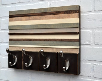 Wood Wall Art with Hooks - Style Meets Function - Upcycled, Distressed Wood