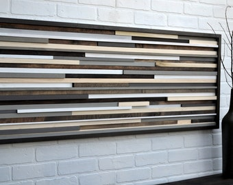 Wood Wall Art - Reclaimed Wood Art Sculpture - Modern Wall Art/Abstract Painting on Wood 18x46