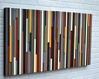 Modern Wall Art Wood Sculpture - Abstract Painting on Wood