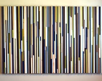 Wood Sculpture Wall Art - Lines - 48x72