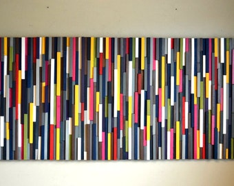 Modern Wood Sculpture Wall Art - Wood Artwork 30X66